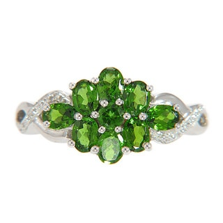 Sterling Silver Chrome Diopside Cluster Ring