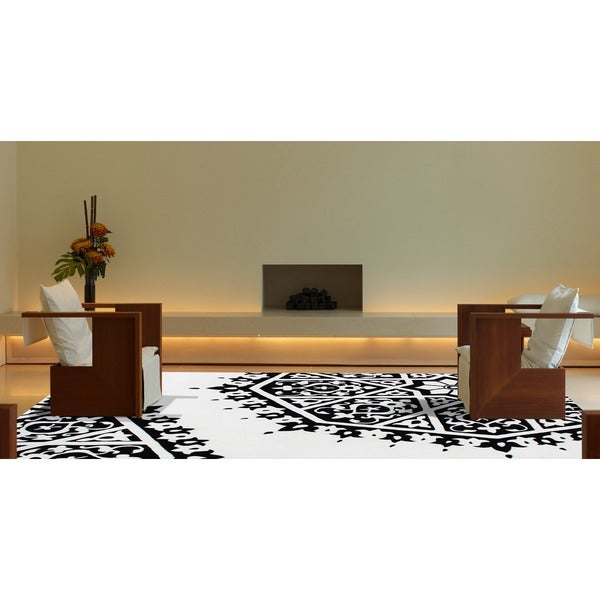 ZnZ Rug Gallery Hand Made Creamy White New Zealand Blend Wool Rug (8' x 10') - 8' x 10'