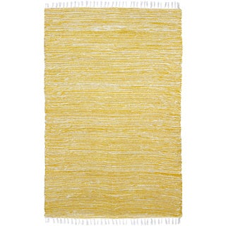 Yellow Reversible Chenille Flat Weave Rug - 5' x 8'