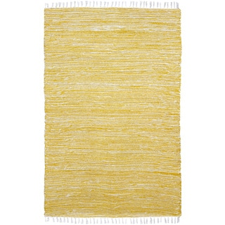 Yellow Reversible Chenille Flat Weave 5x8' Rug - 5' x 8'
