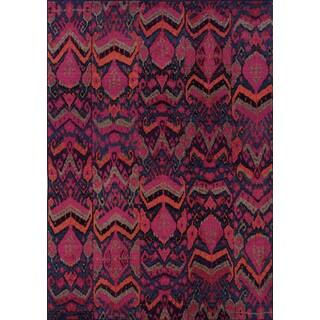 Vibrant Tribal Blue/ Pink Rug (6'7 x 9'1)