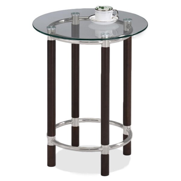 Coffee and Brushed Nickel Finish Glass Top Round End Table