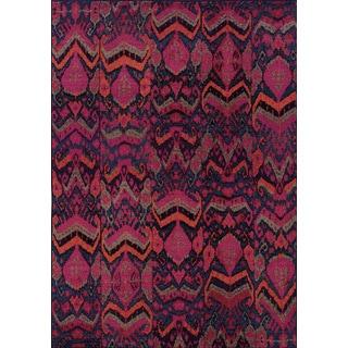 Vibrant Tribal Blue/ Pink Rug (9'9 x 12'2)