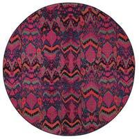 Vibrant Tribal Blue/ Pink Rug - 7'8