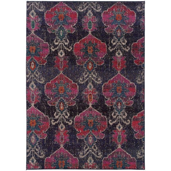 Shop Antiqued Modern Grey/ Pink Contemporary Area Rug