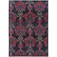 Antiqued Modern Grey/ Pink Contemporary Area Rug (4' x 5'9) - 4' x 5'9""