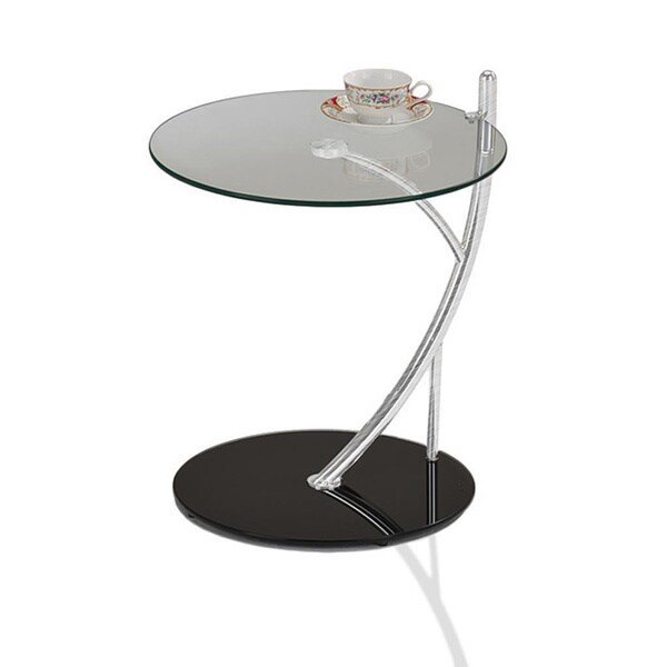 Round Glass Contemporary Sofa Serving Table