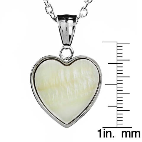ELYA Stainless Steel Dyed Mother of Pearl Heart Pendant