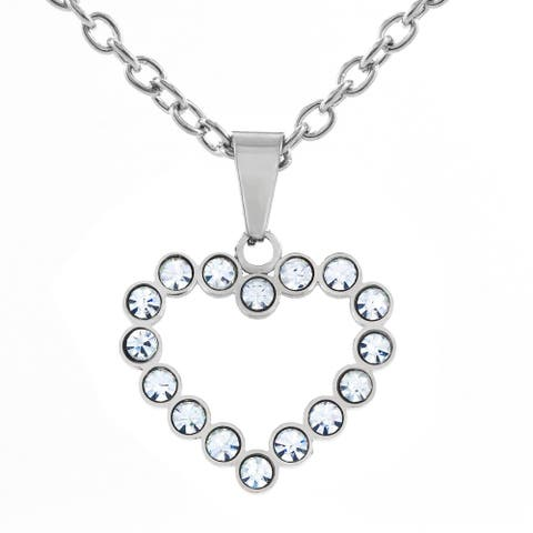 Stainless Steel Cubic Zirconia Open Heart Pendant Necklace