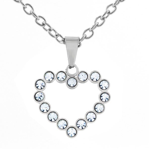 Stainless Steel Cubic Zirconia Open Heart Pendant Necklace. Opens flyout.