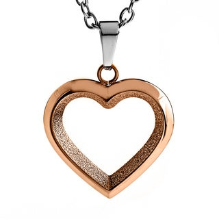 Rose Gold Plated Open Heart Pendant Necklace - Pink
