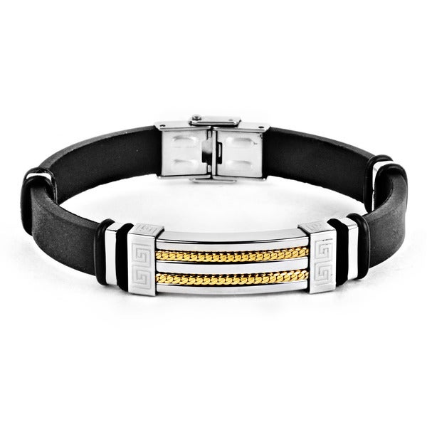 Stainless Steel Gold-plated Rope Inlay Rubber ID Bracelet