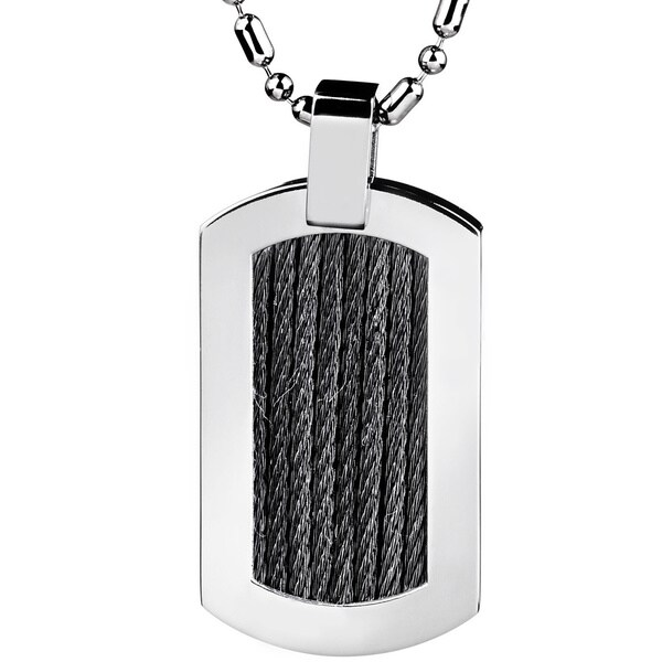 Crucible Stainless Steel Black Cable Rope Inlay Dog Tag Pendant Necklace
