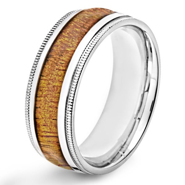 Crucible Polished Stainless Steel Oak Wood Inlay Domed Milgrain Comfort Fit Ring - 8mm Wide