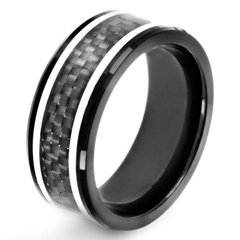 Crucible Black Plated Stainless Steel Carbon Fiber Inlay Ring