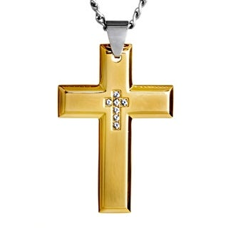Crucible Stainless Steel Cubic Zirconia Inlay Cross Pendant Necklace