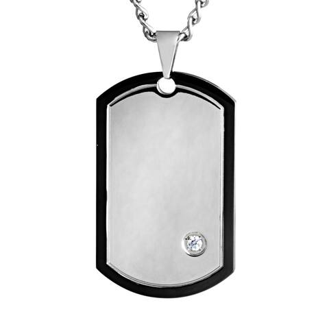 Stainless Steel Cubic Zirconia Dog Tag with Blackplated Trim Pendant Necklace