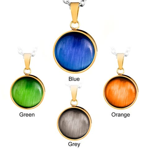 Gold Plated Stainless Steel Cat's Eye Pendant