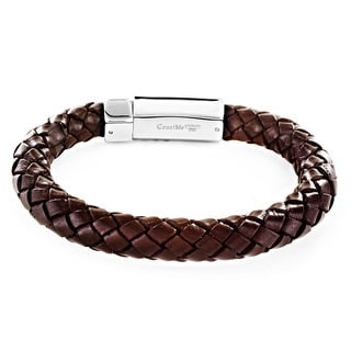 Crucible Men's Braided Leather and Stainless Steel Bracelet