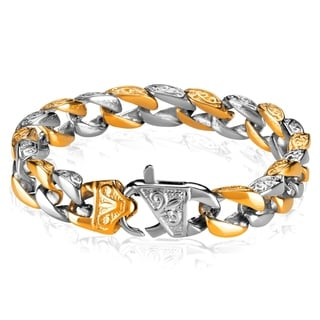 Two-tone Antiqued Curb Chain Link Bracelet