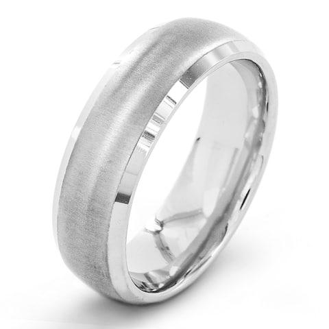 Men's Titanium Brushed Beveled Edge Dome Ring