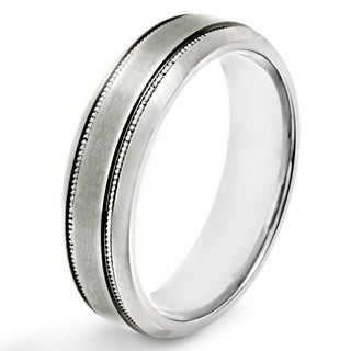 Men's Brushed Titanium Grooved Beveled Comfort Fit Ring - 6mm Wide