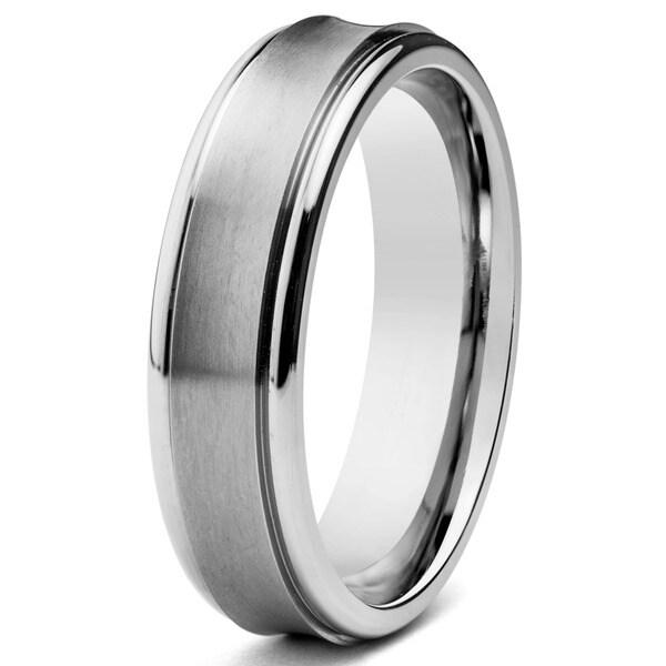 Men's Brushed Titanium Concave 6mm Wide Comfort Fit Ring