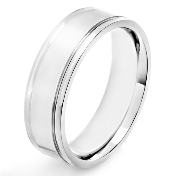 Titanium High Polish Grooved Band Ring