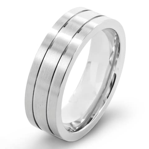 Titanium Brushed Grooved Band Ring