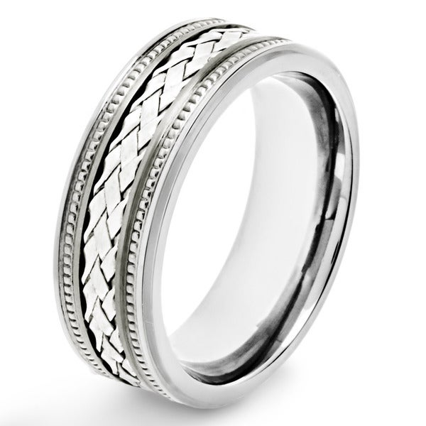 Crucible Titanium Sterling Silver Woven Lattice Pattern Inlay Ring