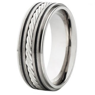 Crucible Titanium Sterling Silver Lattice Pattern Rope Inlay Ring