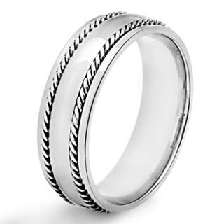 Men's Polished Stainless Steel Dual Rope Inlay Comfort Fit Ring (7mm) - White