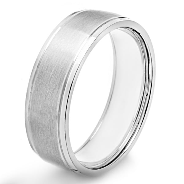 Stainless Steel Brushed and Polished Band Ring - White. Opens flyout.
