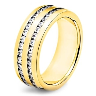 Crucible Polished Stainless Steel Channel Set Cubic Zirconia Double Eternity Ring - 8mm Wide