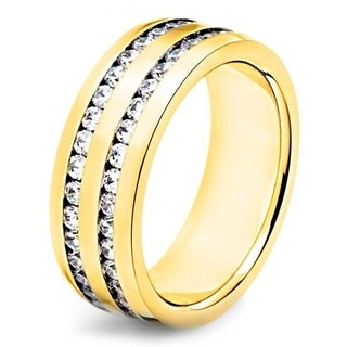 Crucible Polished Stainless Steel Channel Set Cubic Zirconia Double Eternity Ring 8mm Wide