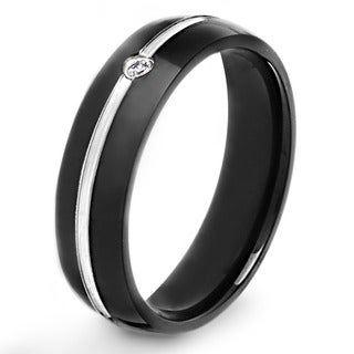 Crucible Blackplated Stainless Steel Grooved Cubic Zirconia Comfort-fit Band Ring