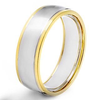 Men's Two Tone Polished Stainless Steel Grooved Domed Comfort Fit Ring - 7mm Wide
