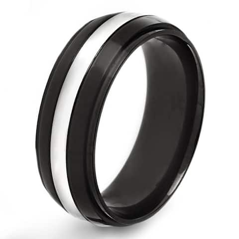 Crucible Black Plated Stainless Steel Grooved Band