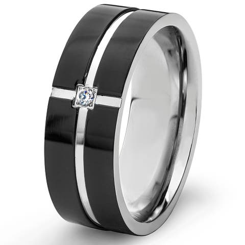 Black Plated Stainless Steel Cubic Zirconia Grooved Band - 8mm Wide