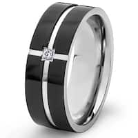 Crucible Black Plated Polished Stainless Steel Cubic Zirconia Grooved Comfort Fit Ring - 8mm Wide
