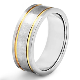 Stainless Steel Goldplated Grooved Brushed Band