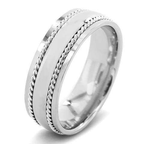 Polished Sterling Silver Rope Inlay Comfort Fit Titanium Ring (7mm)