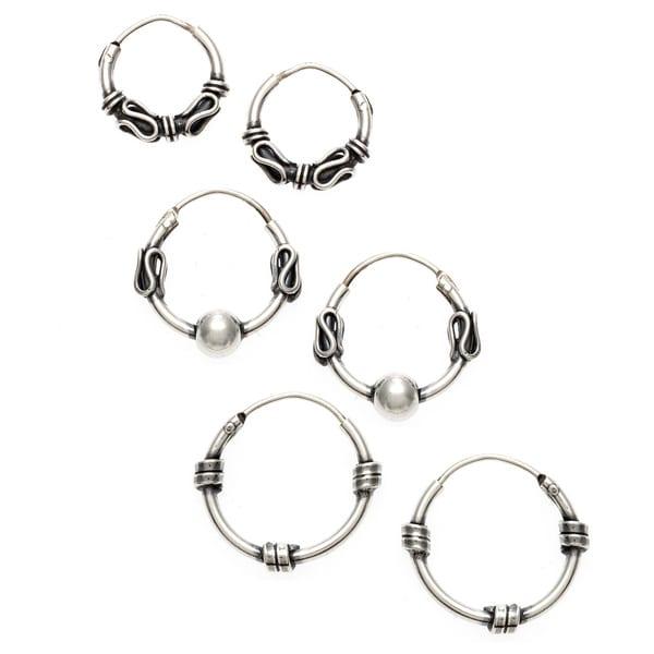 Pair Of Sterling Silver Bali Hoop Ball  Earrings  12  mm  ! Brand  New  !!