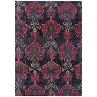 Antiqued Modern Grey/ Pink Rug (5'3 x 7'6)