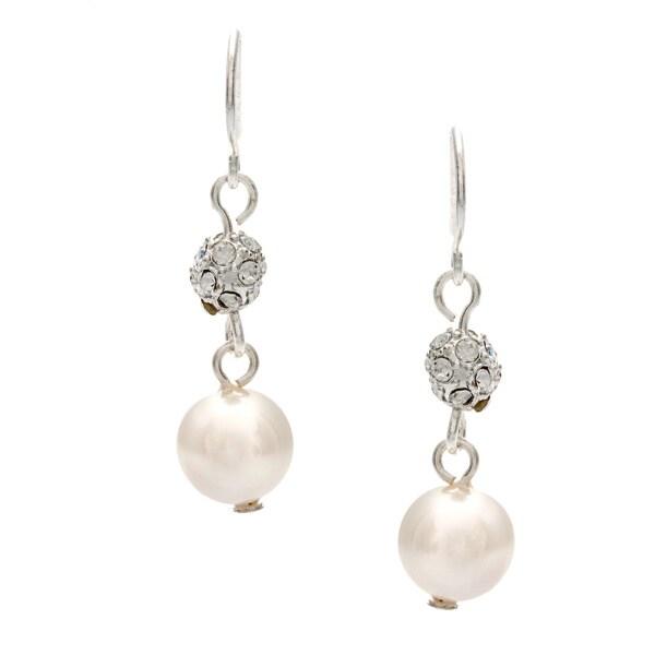 Roman Silver Faux Cream Pearl Pave Fireball Crystal Dangle Earrings