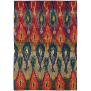 Vibrant Abstract Red and Multicolored Area Rug (6'7 x 9'1)
