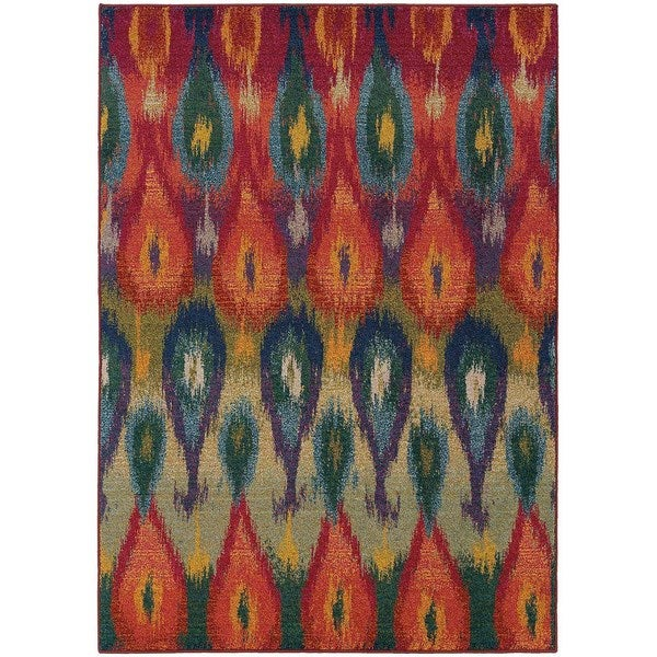Vibrant Abstract Red and Multicolored Area Rug - 6'7 x 9'1