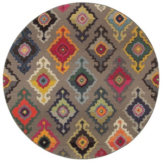 Vibrant Bohemian Grey/ Multicolored Area Rug (7'8 Round)