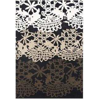 ZnZ Rug Gallery Handmade Black Wool Blend Area Rug (5' x 8')