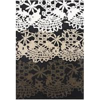 ZnZ Rug Gallery Handmade Black Wool Blend Area Rug (5' x 8')